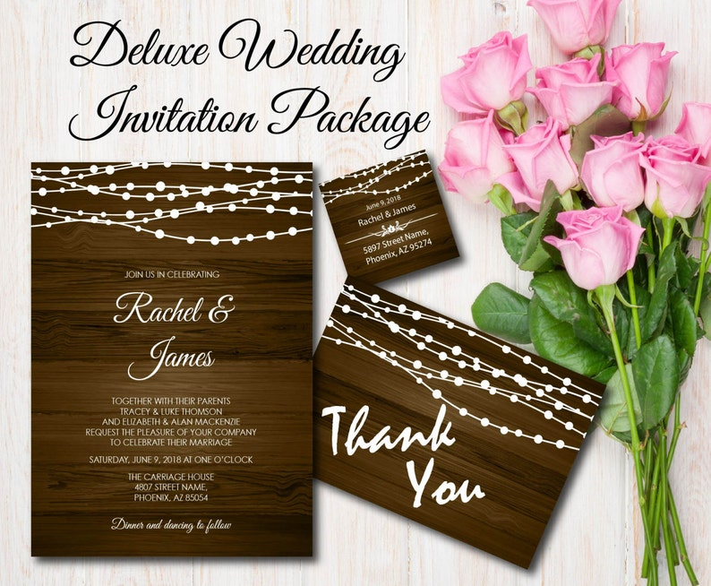Rustic Wood With String Lights Wedding Invitation Printable image 0