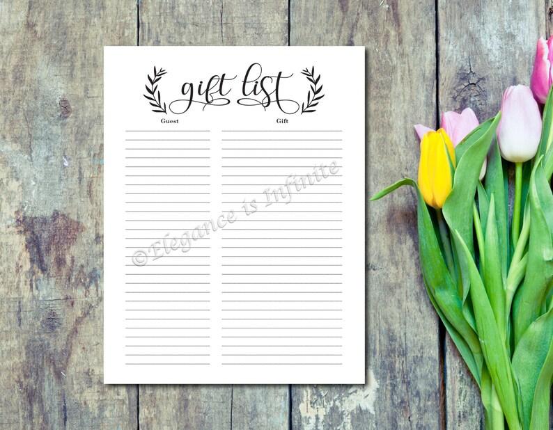 Wedding Shower Bridal Shower Gift List Record Gift image 0