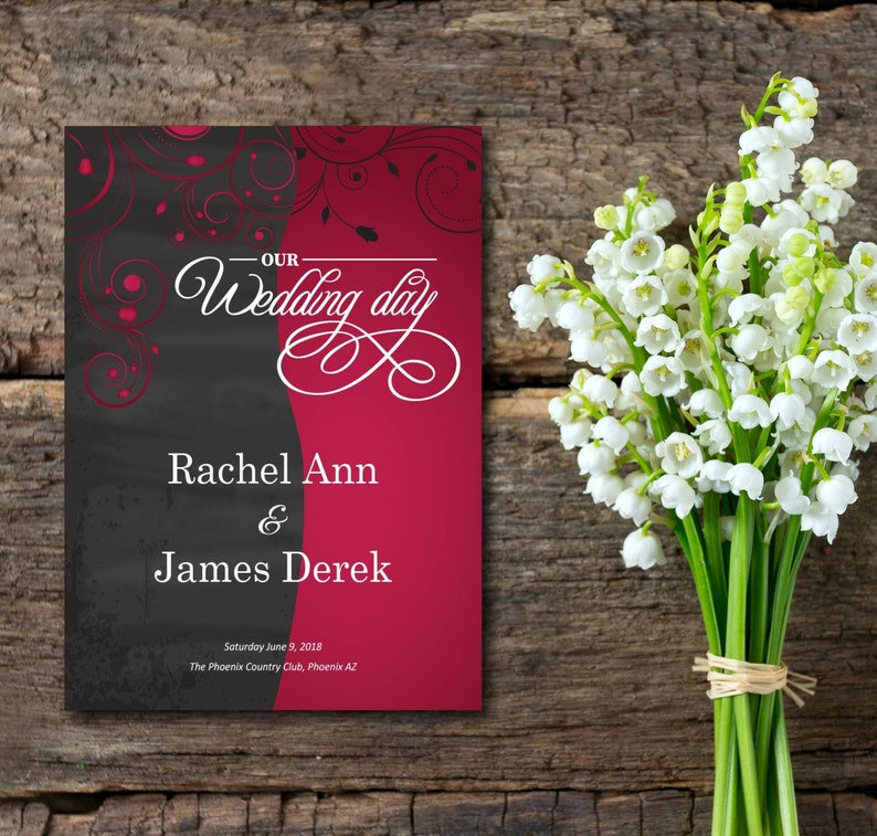 Wedding Program Black and Red Invitation Flowers Simple image 0