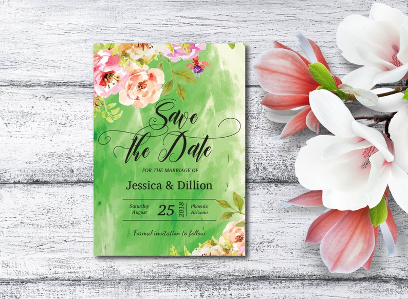 Save The Date Invitation Watercolor Flowers Spring Flower image 0
