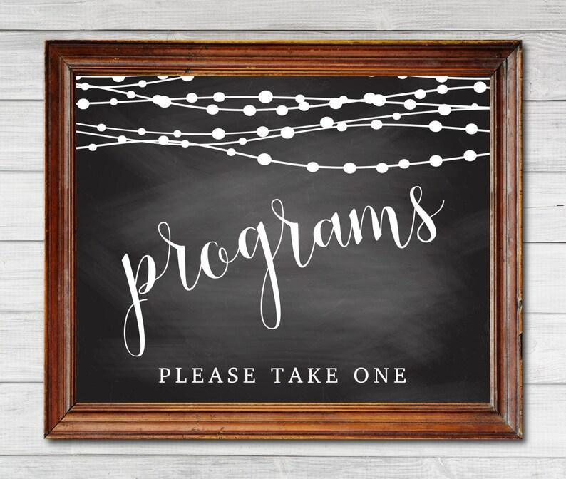 Wedding Program Sign Chalkboard With String Lights Program image 0