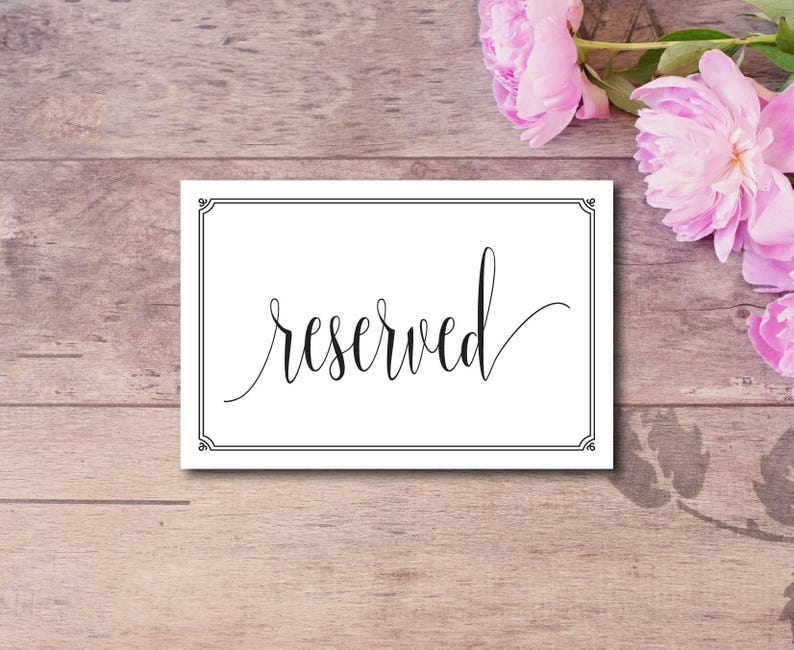 Template Reserved Seating Sign DIY Editable PDF DIY Wedding Reserved Rustic Reserved Sign Instant Download E75L Reserved Table Sign