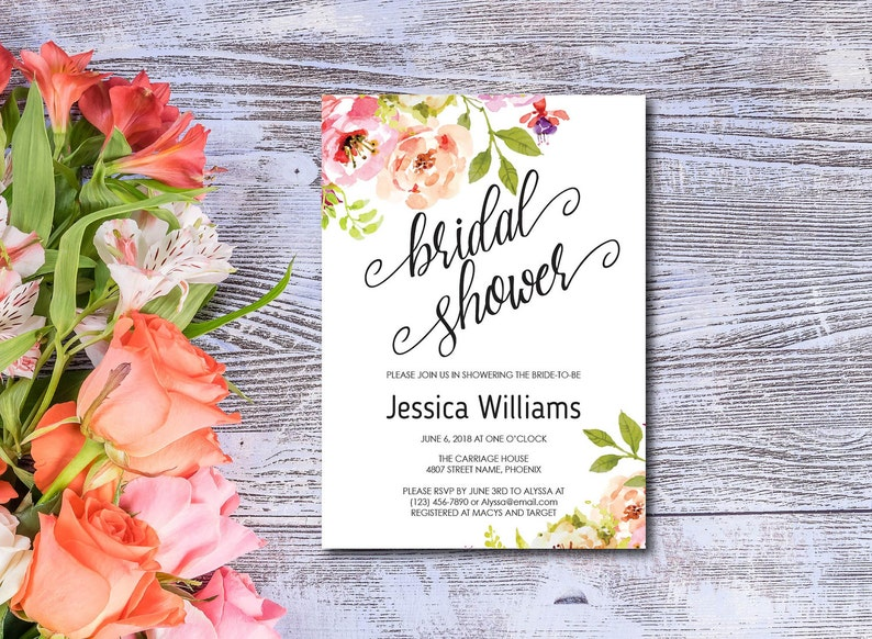 Bridal Shower Invitation Template Watercolor Flowers Spring image 0