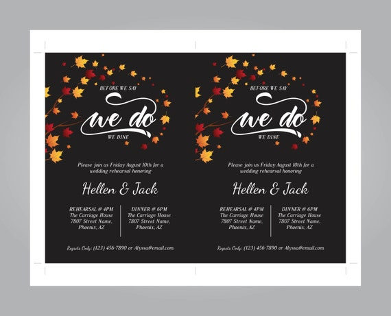 Fall Leaves Rehearsal Dinner Invitation We Do Party Invitation Autumn Invite Template Diy Editable Pdf Printable Instant Download E50a