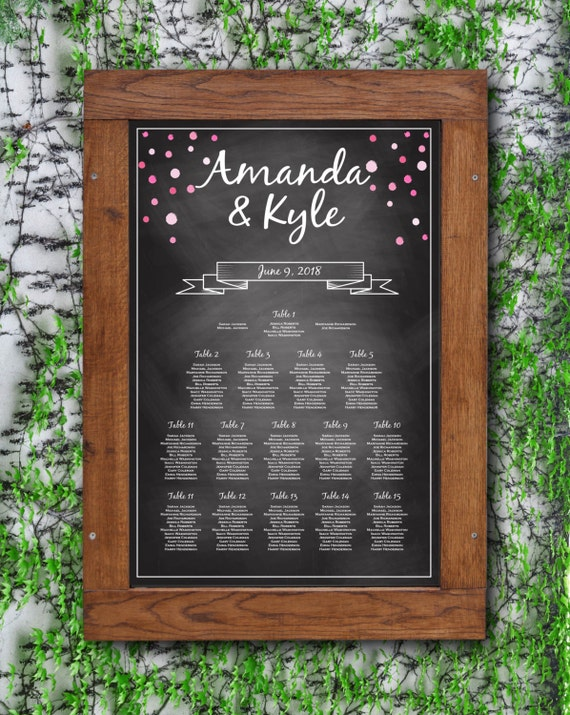 Wedding Seating Chart Rustic Seating Chart Chalkboard String Lights Editable PDF Template Instant Download E13A DIY Seating Chart