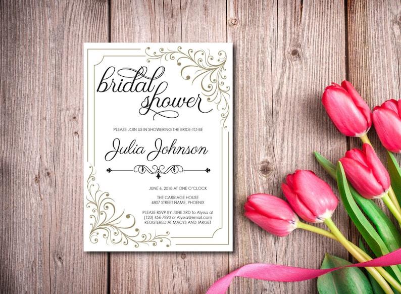 Bridal Shower Invitation Retro Invite Vintage Invitation image 0