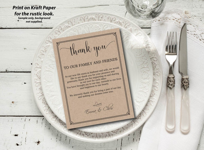 Wedding Thank You Letter Rustic Kraft Letter Thank You image 0