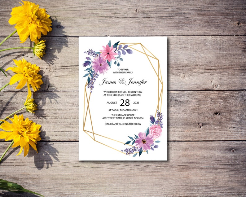 Gold Wedding Invitation Floral Invite Wedding Invite Faux image 0
