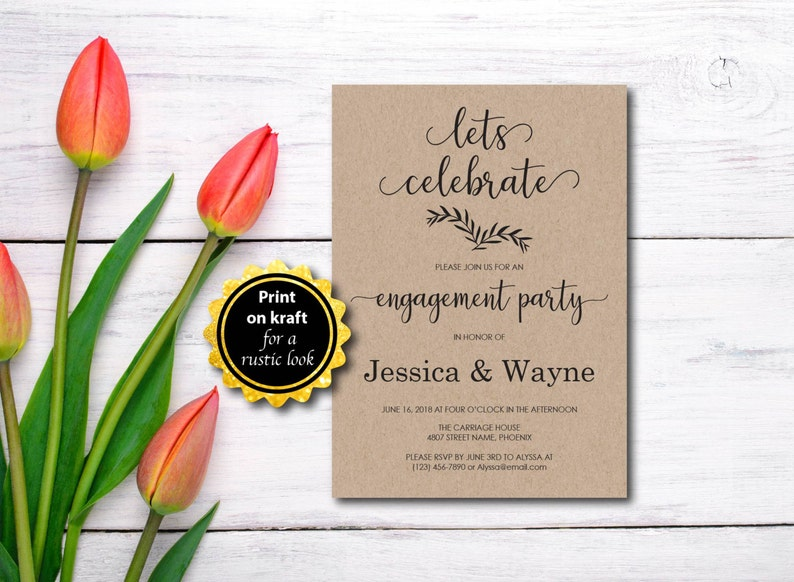 Engagement Party Invitation Party Invitation Rustic Kraft image 0