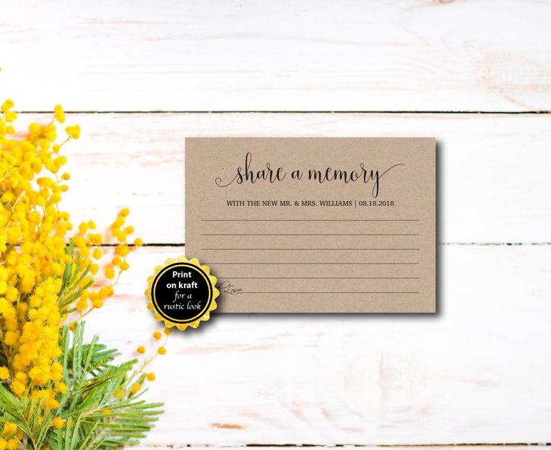 Share A Memory Rustic Kraft Letter DIY Wedding Memory image 0