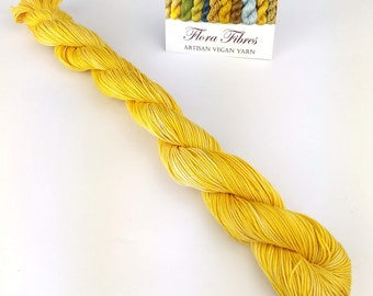 Limited edition, naturally dyed, sunny yellow, fingering (4 ply) weight seacell yarn, for knitting crochet weaving, UK. Batch 4.