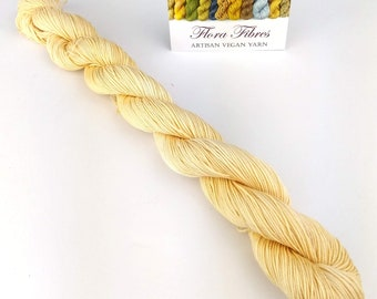 Limited edition, naturally dyed, creamy yellow, fingering (4 ply) weight seacell yarn, for knitting crochet weaving, UK. Batch 5.