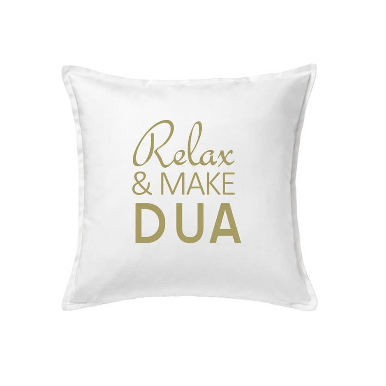 Relax & Make Dua white and gold cotton cushion cover makes a great Islamic  wedding or anniversary gift