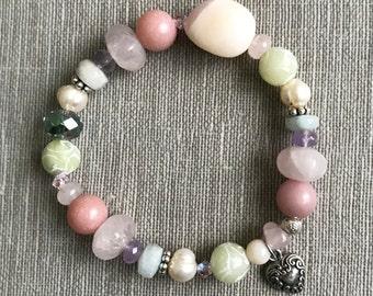 Opal, rose quartz, freshwater pearl, jade, amethyst, aquamarine, amazonite, Swarovski crystal, and sterling silver handmade bracelet
