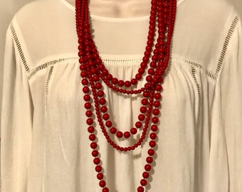 Wooden statement necklace Bubbles small red