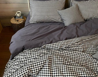 Stoned washed softened cotton check farmhouse Country bedroom country rustic bedding buffalo check decor gingham duvet cover