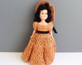 c3fad4506c5 Vintage Sleepy Doll Crochet Dress 1940s Crocheted Handmade Black Hair Peach  Panties Hat Plastic