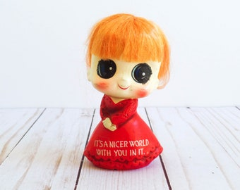 Vintage 1970s Enesco Big Eye Girl It's A Nicer World With You In It Plaster Love Ceramic Orange Hair Red Dress