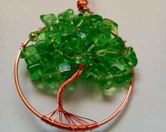 Green Tree of Life Necklace, Wire Wrapped Tree of Life Necklace