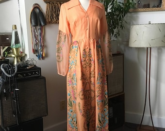 1970s Vintage Alfred Shaheen Paradise Dress