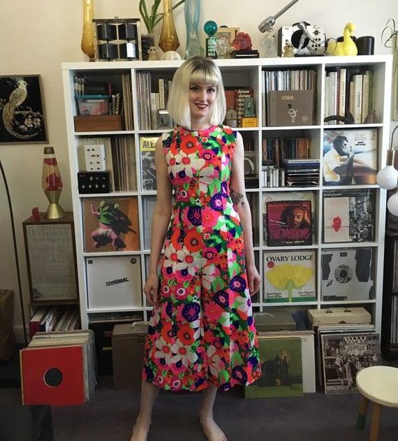 1960s Psychedelic Floral Romper TALL