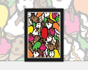 Ice cream vector art Poster - Vintage, Pop Art, Print, Framed in Black A4 or A3