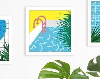Tropicool illustration Fresh and Vivid illustration Swimming pool poster Swimming pool print Tropical print Colorful Summer art Summer pool