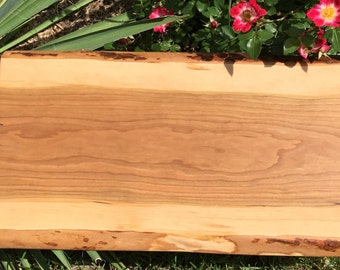 Live Edge Cutting Board and Wood Serving Tray of Cherry