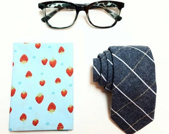 Light Blue Pocket Square with Strawberries, Hanky, Handkerchief, Square, Cotton Handkerchief, Mens Pocket Square