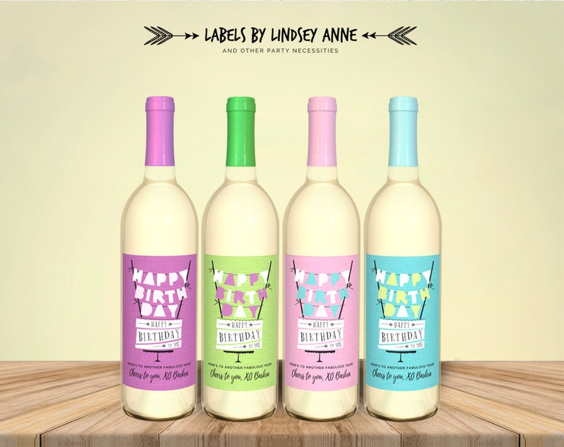 Personalized Wine Label Birthday Cake Banner Birthday Card Custom Happy Birthday Wine Label Birthday Girl Wine Bottle Label