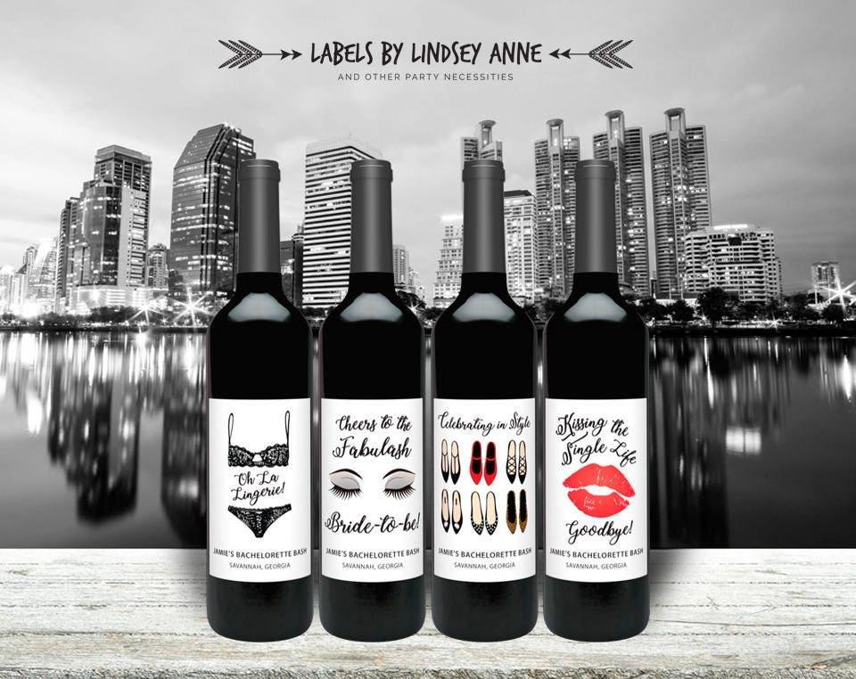 Fashion Wine Labels for Bachelorette Party - City Theme - Hens Party -  Makeup - shoes - lingerie bachelorette party - bridal shower