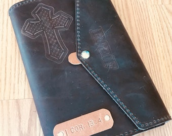 Custom Leather Bible Cover, KJV Bible Included, Handmade Leather Bible Case, Christian Gift, Religious Gift, Personalized Bible Cover
