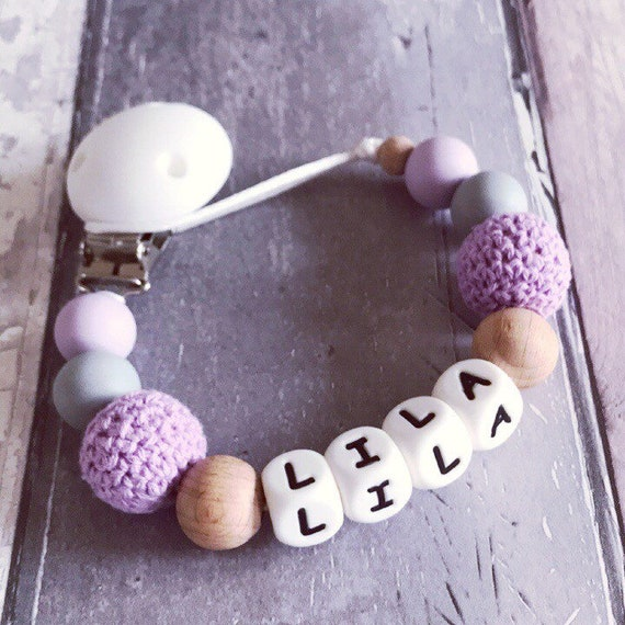 Personalised Baby Dummy Wooden Clip Shower Christening Gift //Free MAM Adapter