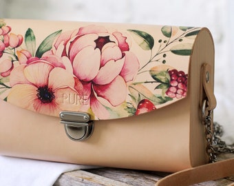 Leather clutch with chain PEONY