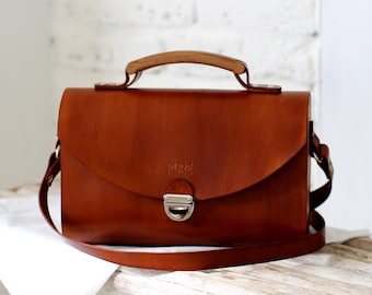 Leather handbag SATCHEL BROWN