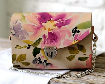 Leather clutch with chain BLOSSOM N.1