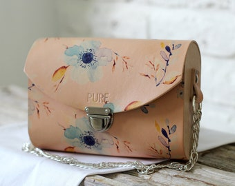 Leather clutch with chain BLOSSOM N.4
