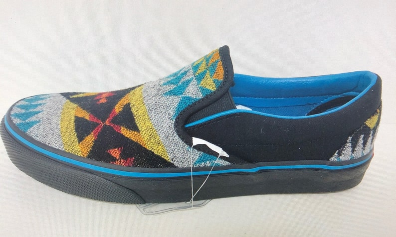bf9883667aece All Nations Skate Jam x Vans with Pendleton shoes turquoise slip ons 2019