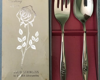 Oneida Stainless Meat Fork and Serving Spoon