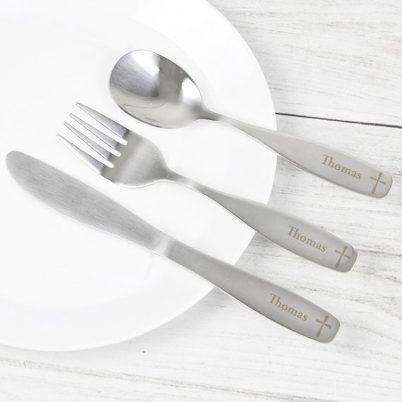 Silver Plated Teddy Cutlery Set Lovely Gift for New Baby Christening or Baptism