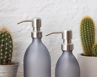 grey matt glass soap dispenser bottle with stainless steel pump - Bathroom Soap Dispenser