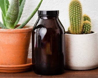 Amber Glass Storage Jar