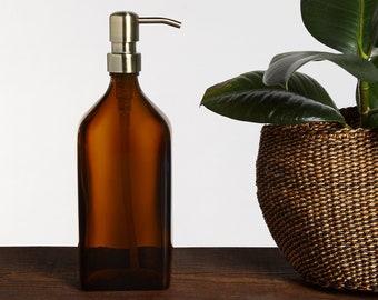Amber Glass Rectangular Soap Dispenser with Stainless Pump [200ml/500ml] (BPA-Free)