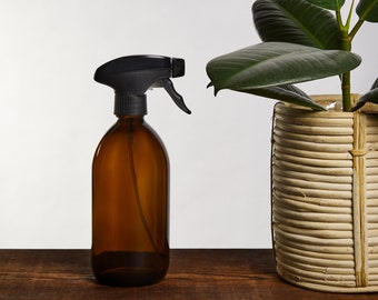 Amber Glass Spray Bottle   Trigger Spray for Cleaning and Room Sprays   Plant Minster (BPA-Free)