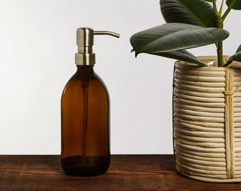Amber Glass Soap Dispenser With Stainless Steel Pump (BPA-Free)