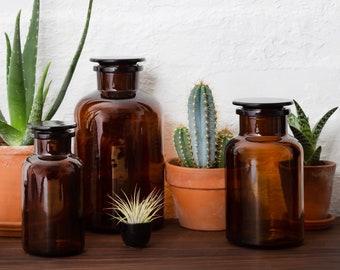 Amber Brown Glass Apothecary Jar