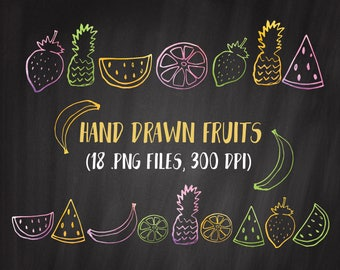 Fruits Clipart, Watercolor Fruit Clipart, Summer Fruit Clipart Set, Commercial Use OK, Fruit Outlines Clipart, Fruit Doodles Hand Drawn