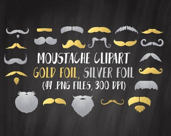 Gold Moustache Clipart, Silver Moustache Clipart, Hipster Clipart, Commercial Use, PNG Moustache Clipart, Moustache Silhouette, Beards
