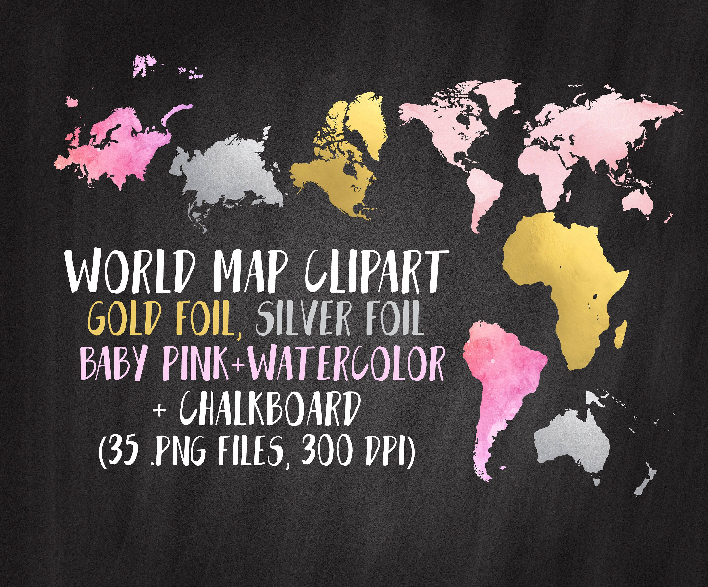 World map clipart gold map clipart continents clipart gold etsy zoom gumiabroncs Choice Image