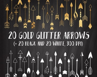 Gold Arrows Clipart, Hand Drawn Arrows Clipart, Tribal Arrows Clipart Set, Tribal Gold Clipart, Arrows Pattern, Commercial Use,
